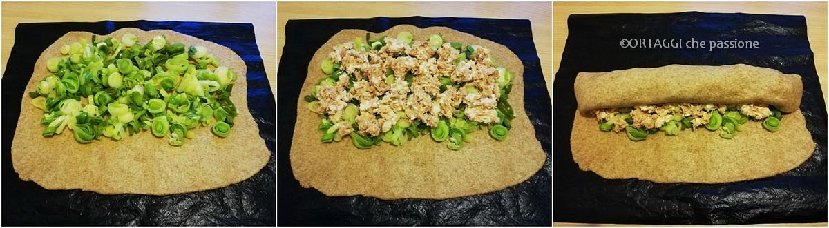 Strudel salato con porri - ricetta foto passo passo
