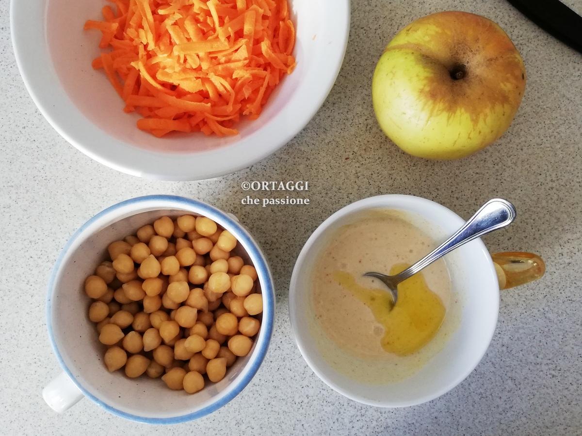 ingredienti insalata di ceci e carote con mele