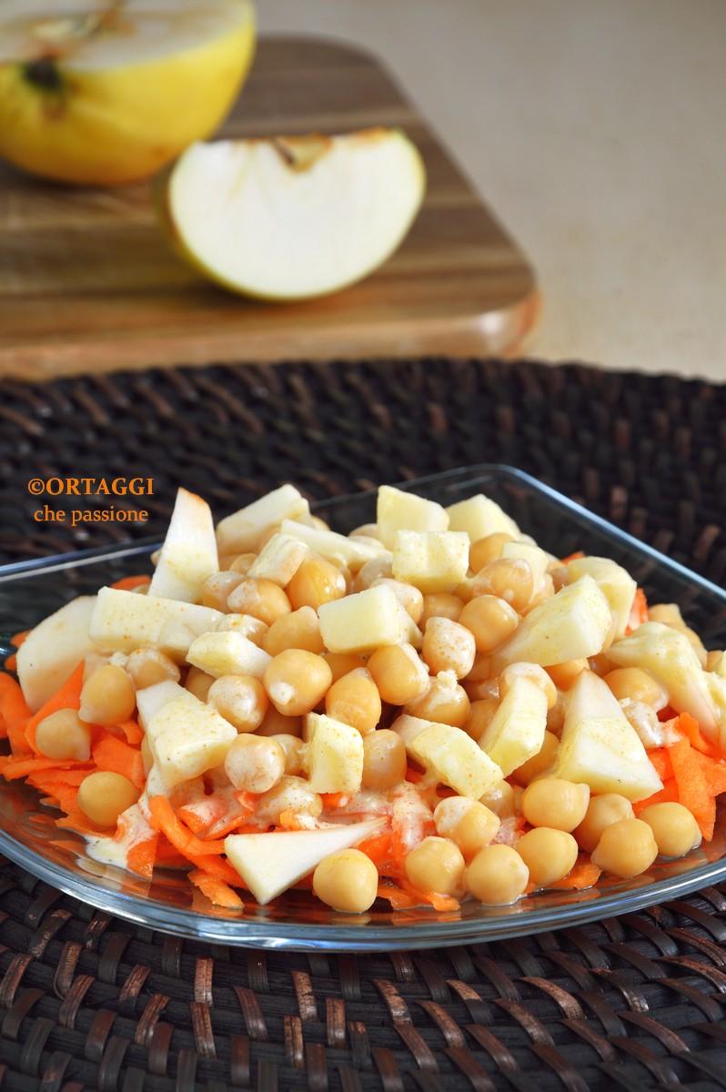 insalata di ceci e carote con mela