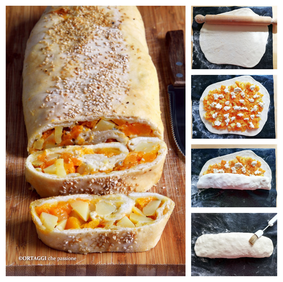 ricetta foto passo passo strudel vegetariano con zucca