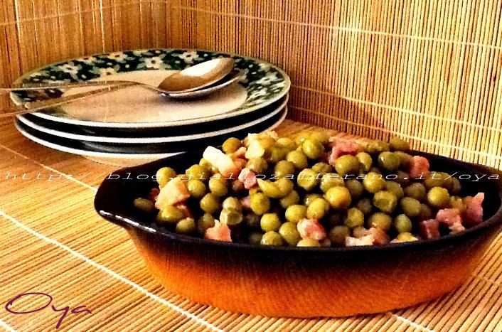 Piselli e pancetta, ricetta contorno semplice | Oya
