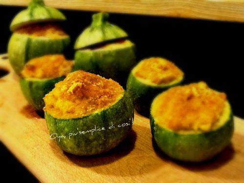 Zucchine tonde ripiene con ricotta e salumi, ricetta