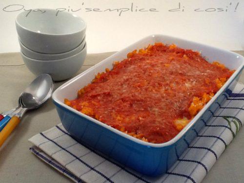 Riso al forno con salsa e mozzarella, ricetta