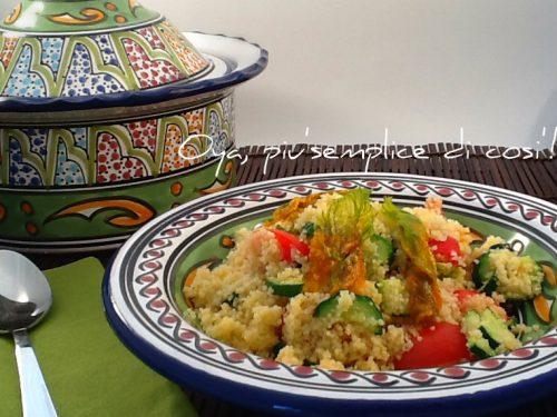Cous cous zucchine, fiori di zucca e pomodorini