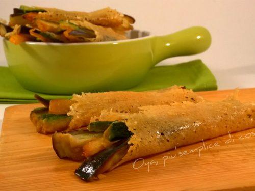 Cialde di parmigiano con verdure, ricetta