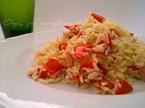 Risotto peperoni e prosciutto, ricetta