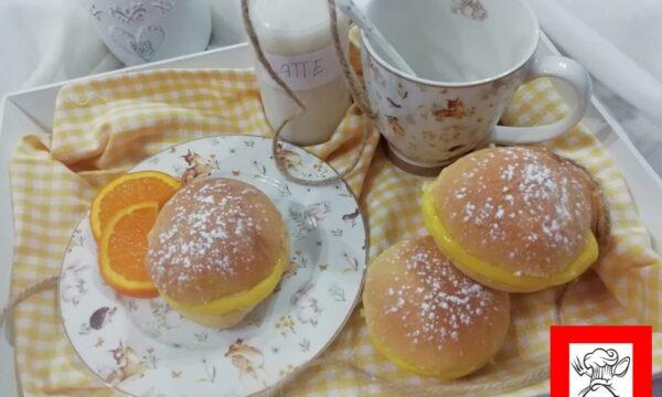 Brioche soffici con crema all'arancia senza lattosio