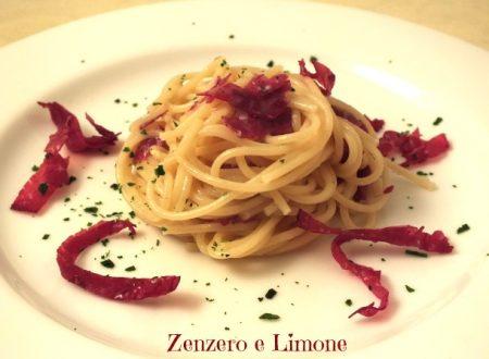 Spaghetti con bresaola croccante e gorgonzola