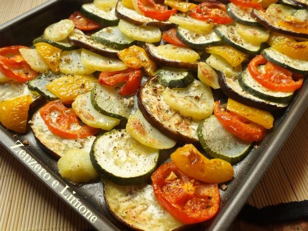 Verdure al forno ricetta contorno zenzero e limone for Cucinare zucchine al forno
