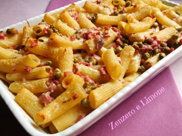ham and cheese baked pasta -