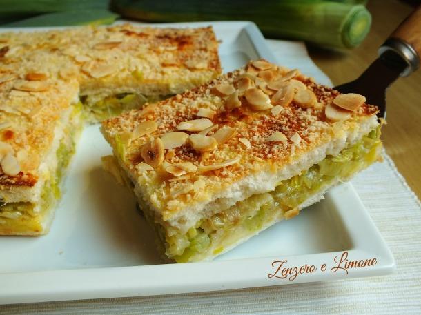 tortino porri e gorgonzola - fetta