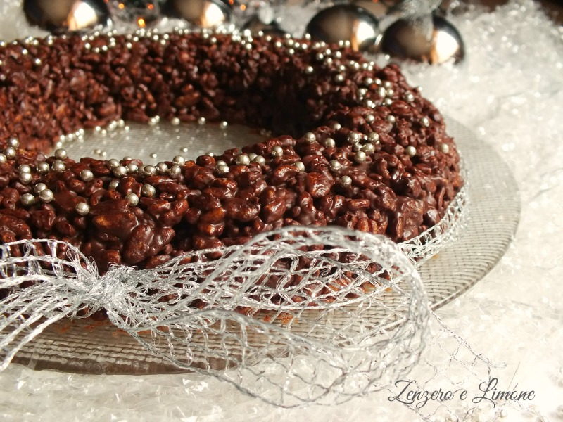 Corona croccante al cioccolato e riso soffiato | Zenzero e Limone