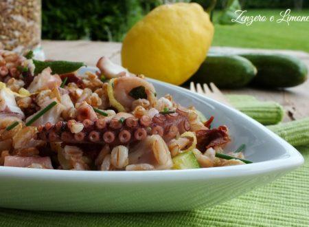 Insalata di farro con polipo e zucchine