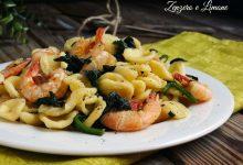 Orecchiette con gamberi e spinaci