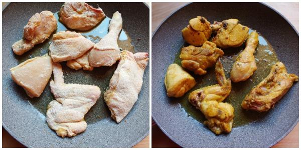 pollo al curry - rosolatura