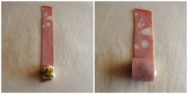 sushi di mortadella - arrotolare