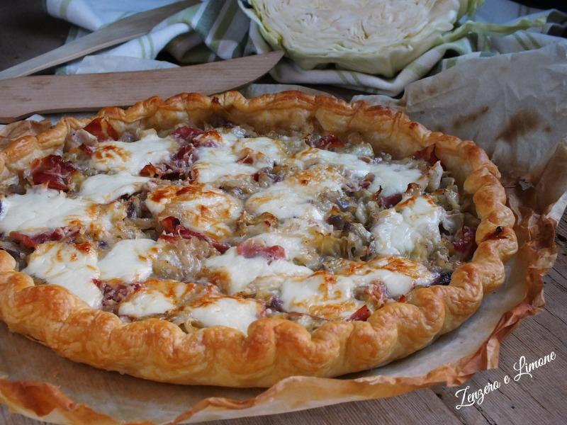 Torta Salata Cavolo Cappuccio e Speck