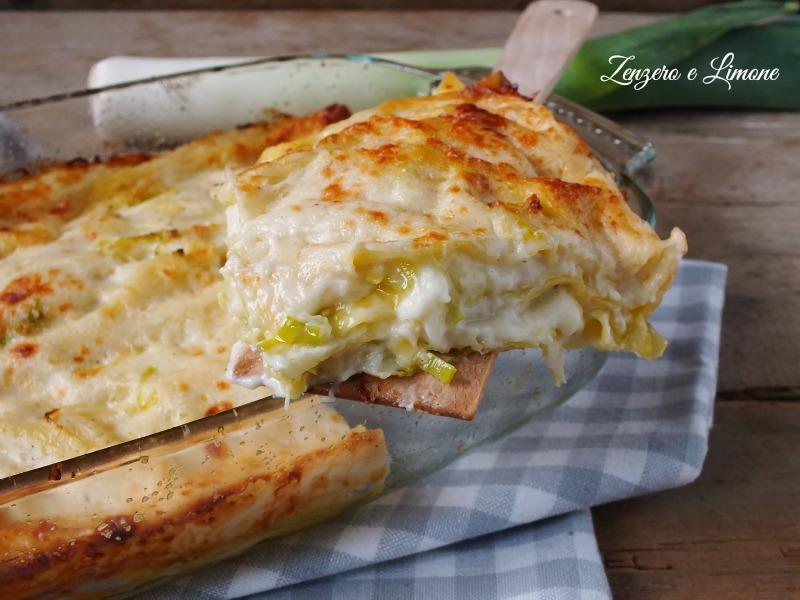 lasagne ai porri e taleggio - fetta
