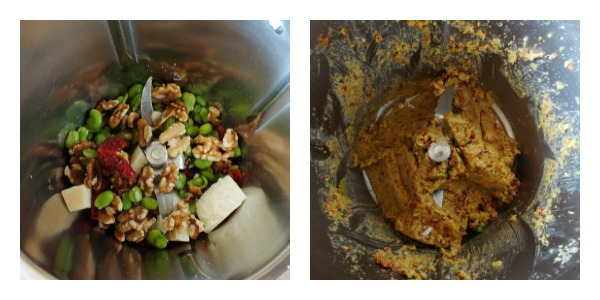 pesto di fave e pomodori secchi - procedimento