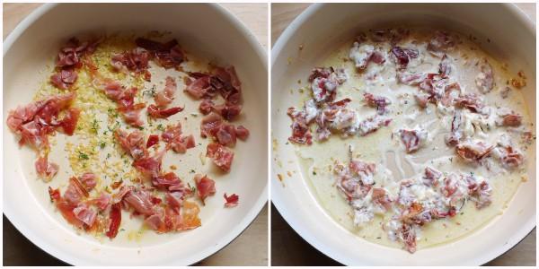 pasta e patate allo speck - condimento