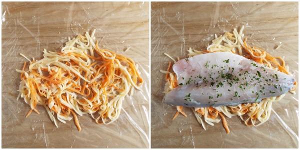 filetti di branzino in crosta - procedimento
