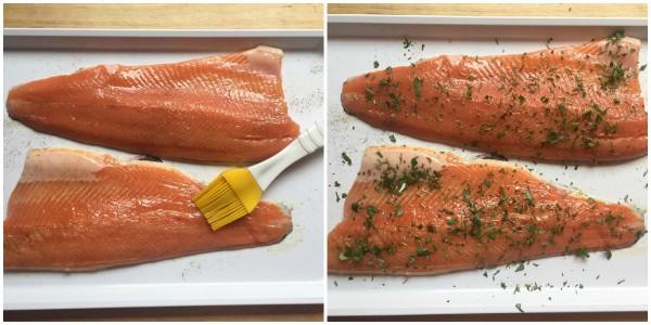 filetti trota salmonata alle erbe - procedimento 2