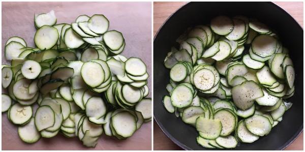 torta salata prosciutto brie e zucchine - procedimento 1