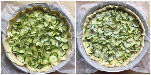 torta salata prosciutto brie e zucchine - procedimento 4