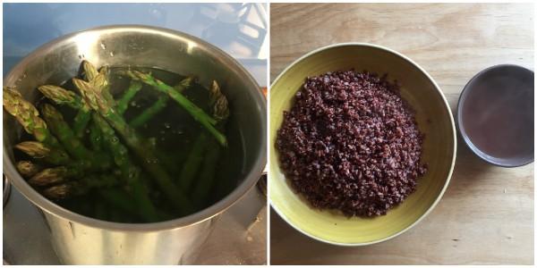 Riso rosso con asparagi - procedimento 1