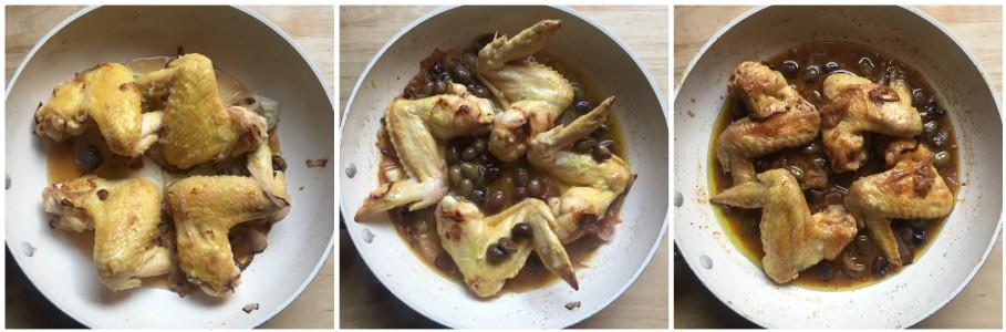 Ali di pollo in padella - procedimento 3