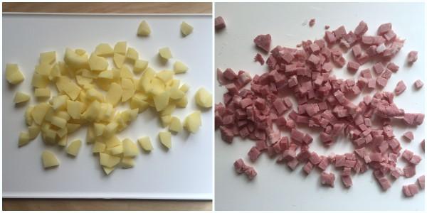 Frittata di patate, prosciutto - procedimento 1