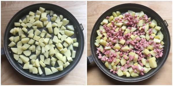 Frittata di patate, prosciutto - procedimento 2