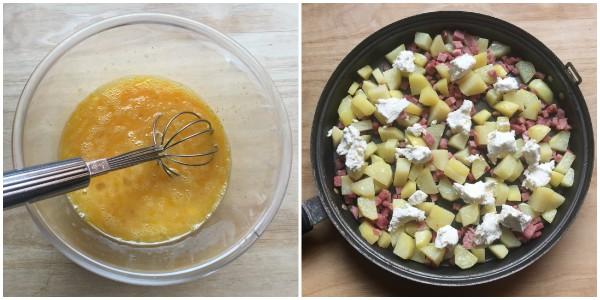 Frittata di patate, prosciutto - procedimento 3