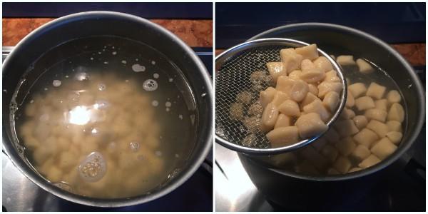 Gnocchetti di ricotta con gorgonzola e noci - cottura