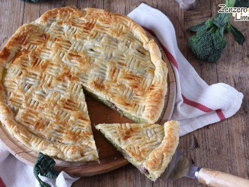 Torta salata con broccolo e salsiccia