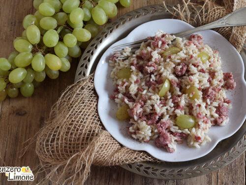 Risotto con salsiccia e uva