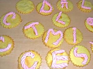 letterine di pasta di zucchero