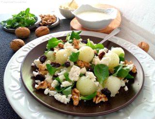 insalata-feta-melone bianco-noci-uvetta