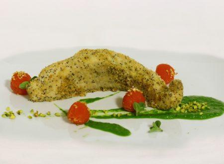 Filetto di storione al forno con papavero e pistacchio