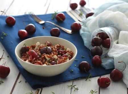 Riso rosso con ciliegie primosale e olio al timo