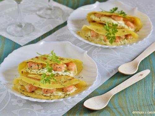 Crespelle con salsa al mascarpone e gamberi