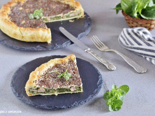 Torta con spinaci ricotta e wurstel