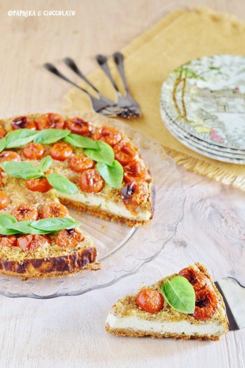 Ceesecake salata con ricotta e pomodorini