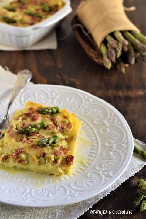 Lasagne con crema di asparagi e salame