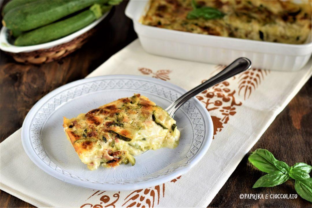 Lasagne di zucchine con mortadella e mozzarella
