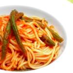 spaghetti con sugo di fagiolini