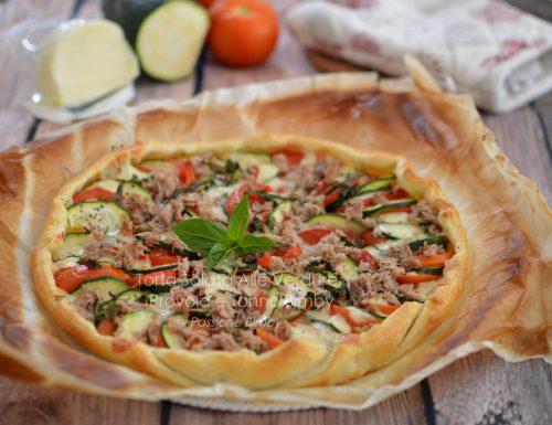 TORTA SALATA ALLE VERDURE, PROVOLA E TONNO BIMBY