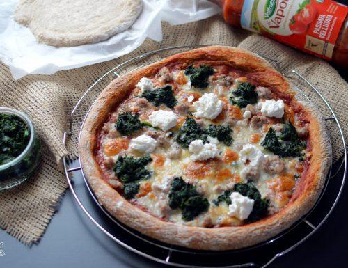 PIZZA INTEGRALE AD ALTA IDRATAZIONE CON RICOTTA, SPINACI E SALAMINA BIMBY