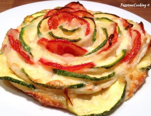 Torta a spirale con zucchine e pomodori