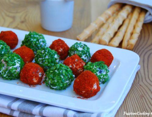 Palline di Philadelphia con olive e pomodori